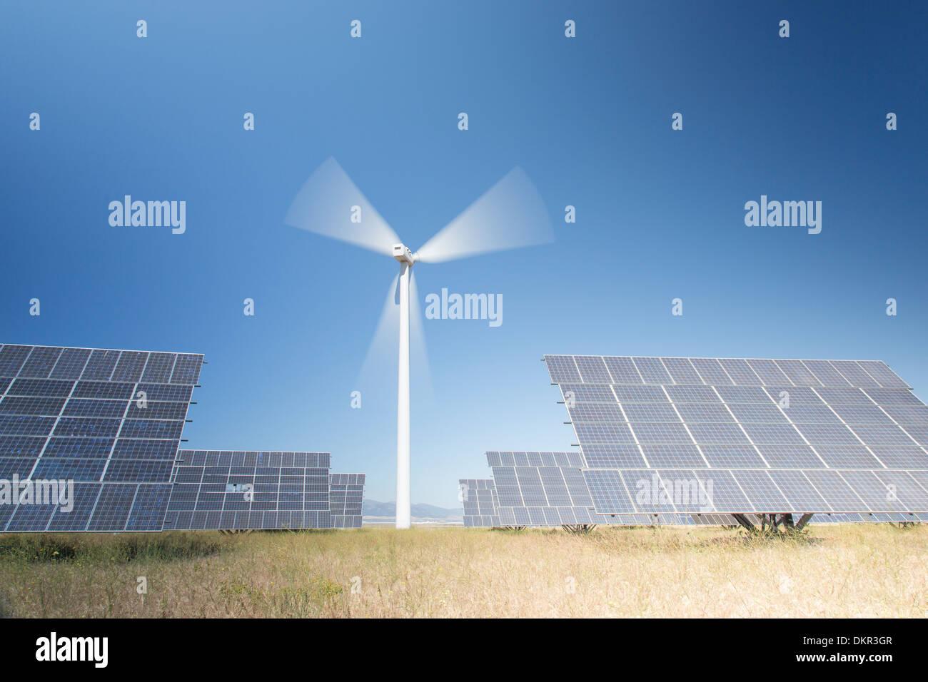 Solar panels in rural landscape - Stock Image
