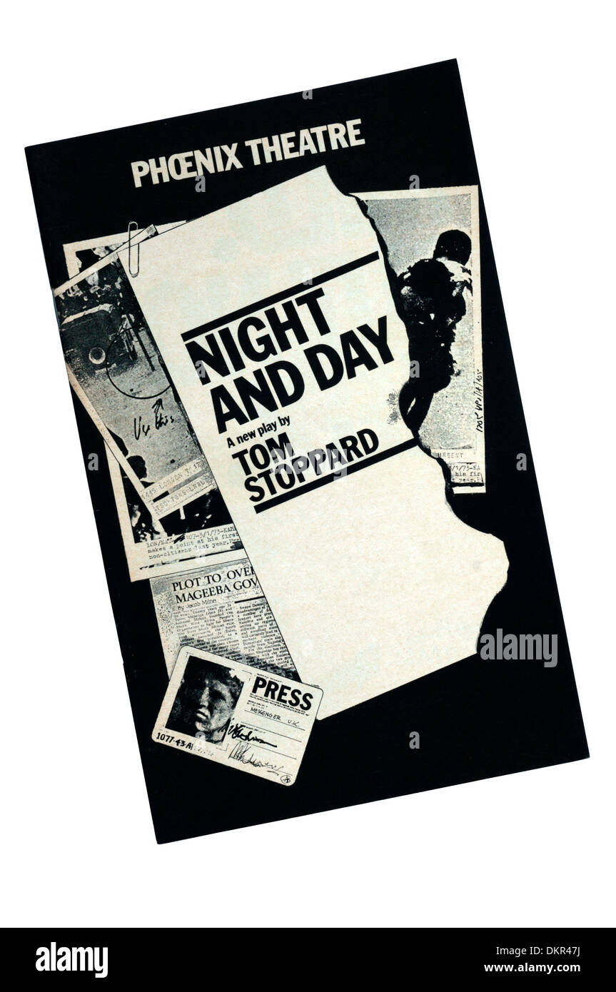 Programme for the 1978 production of Night and Day by Tom Stoppard at the Phoenix Theatre. - Stock Image