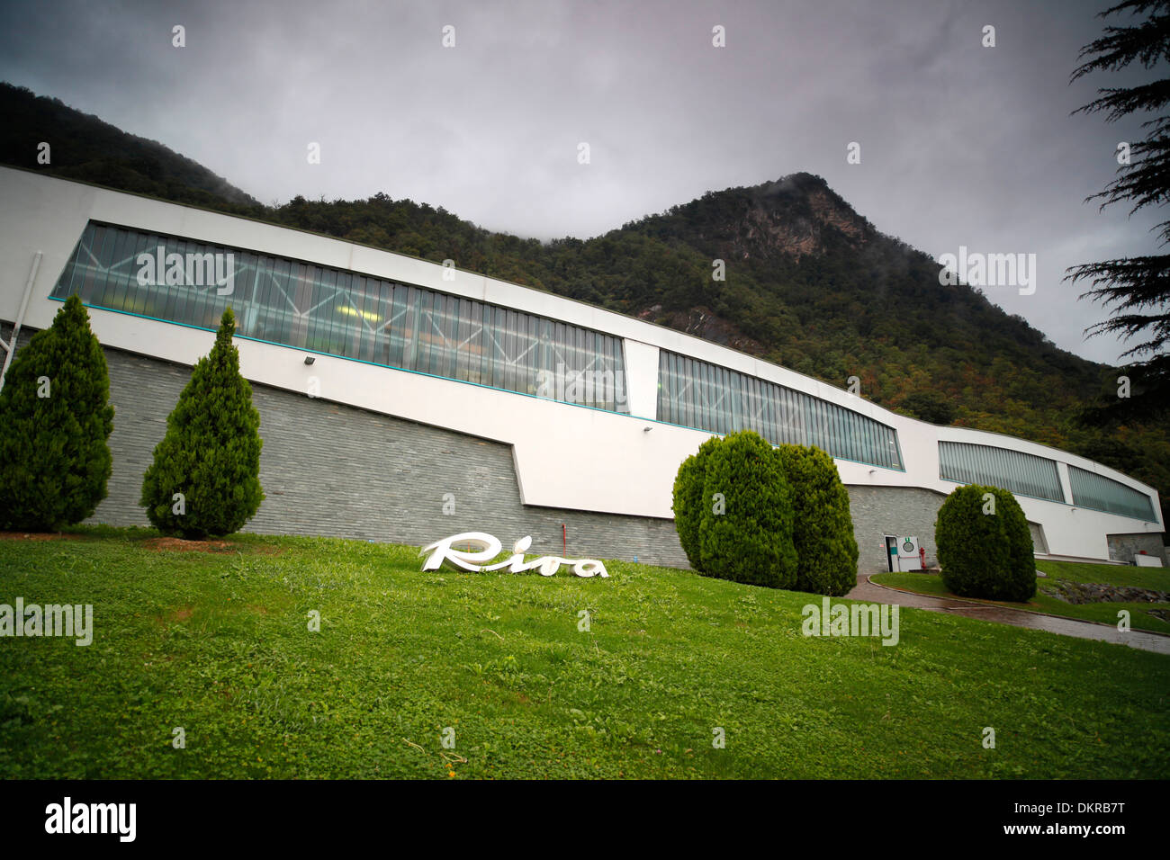 Part of the Riva yacht factory on Lake Iseo in Sarnico, Italy. - Stock Image