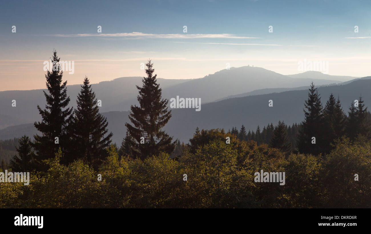 View to Great Arber mountain in the Bavarian Forest, Bohemian Forest, Czech Republic - Stock Image