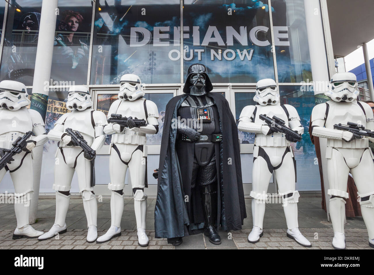 England, London, Stratford, Annual Sci-fi Costume Parade, Star Wars, Darth Vader and Stormtroopers Stock Photo