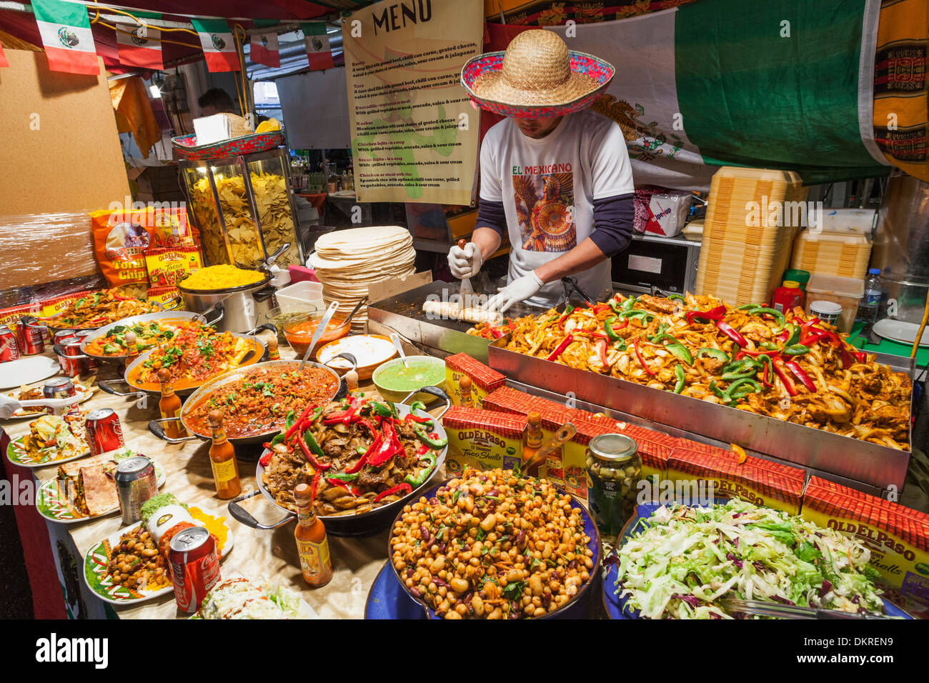 England, London, Shoreditch, Brick Lane, Man Selling Mexican Food - Stock Image