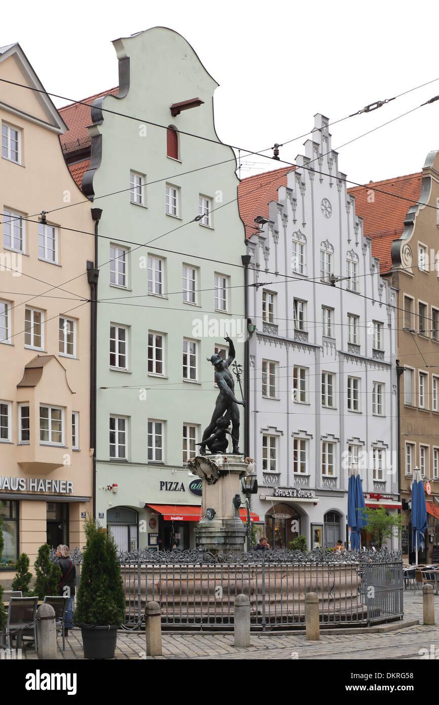 Augsburg Maximilianstraße Merkurbrunnen - Stock Image