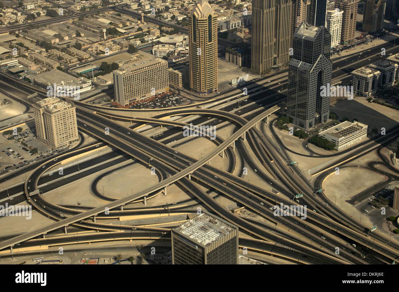 Dubai city a view from observation deck of Burj Khalifa. Dubai UAE - Stock Image