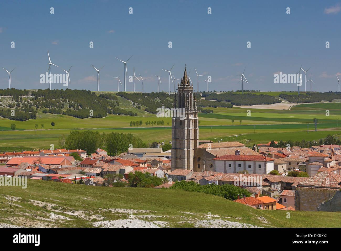 Ampudia, Castilla, Castile, Leon, Palencia, Province, belfry, church, city, energy, landscape, pueblo, Spain, Europe, wind - Stock Image