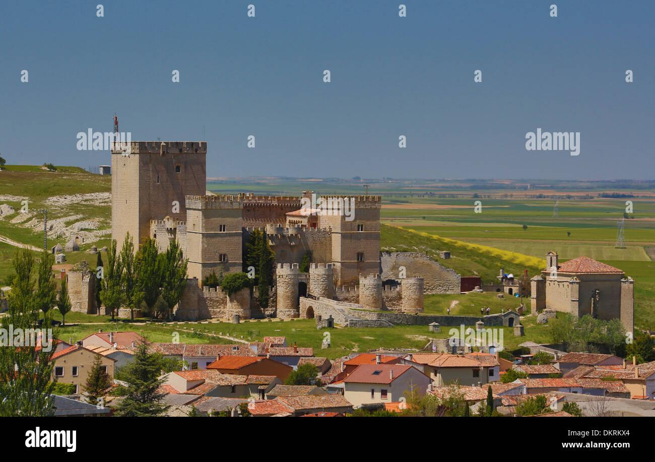 Ampudia Castilla Castile Leon Palencia Province belfry castle church city energy history landscape pueblo Spain Europe - Stock Image