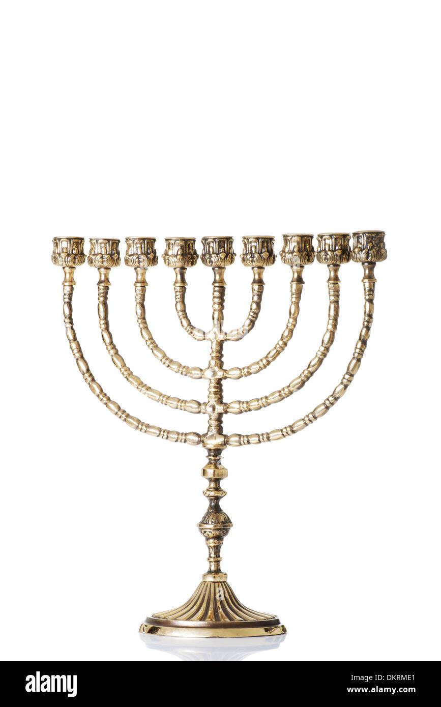 Candlestick with nine arms ( chanukkiah / hanukiah for chanuka / hannukah - Stock Image