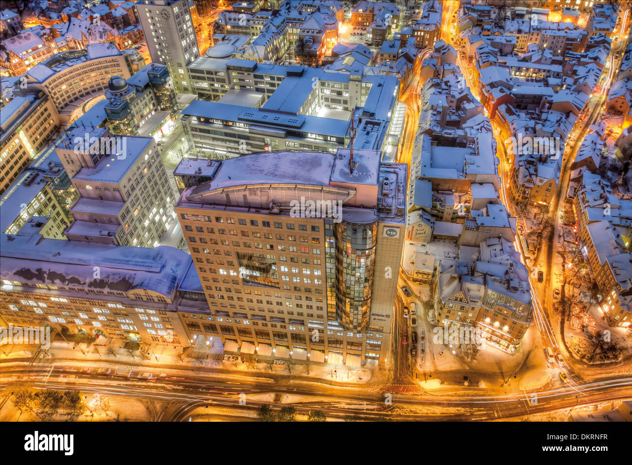 View from Jentower to Ernst-Abbe Platz and the building B59, Jena, Thuringia, Germany, Europe - Stock Image