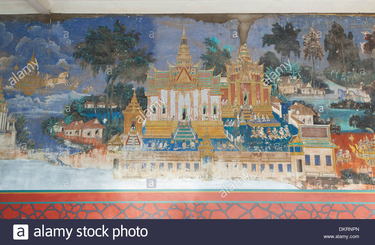 Reamker frescoes adorning the walls of the royal palace in Phnom Penh, Cambodia - Stock Image
