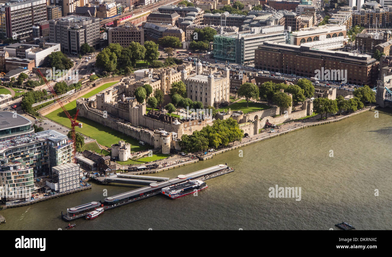 Oblique aerial view of Tower of London UK - Stock Image