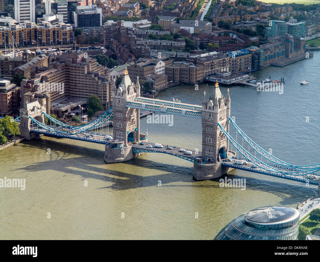 Oblique aerial view of Tower Bridge London UK - Stock Image