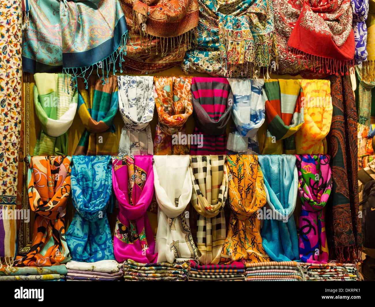 Shawl display in the Grand Bazaar Istanbul Turkey. - Stock Image