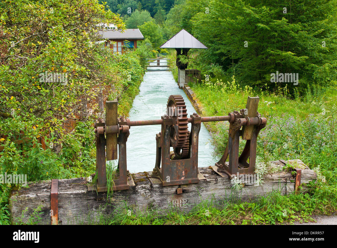 Austria Austria Salzburg water way drinking water water supply canal channel alp canal alp arm sluice floodgate Stock Photo