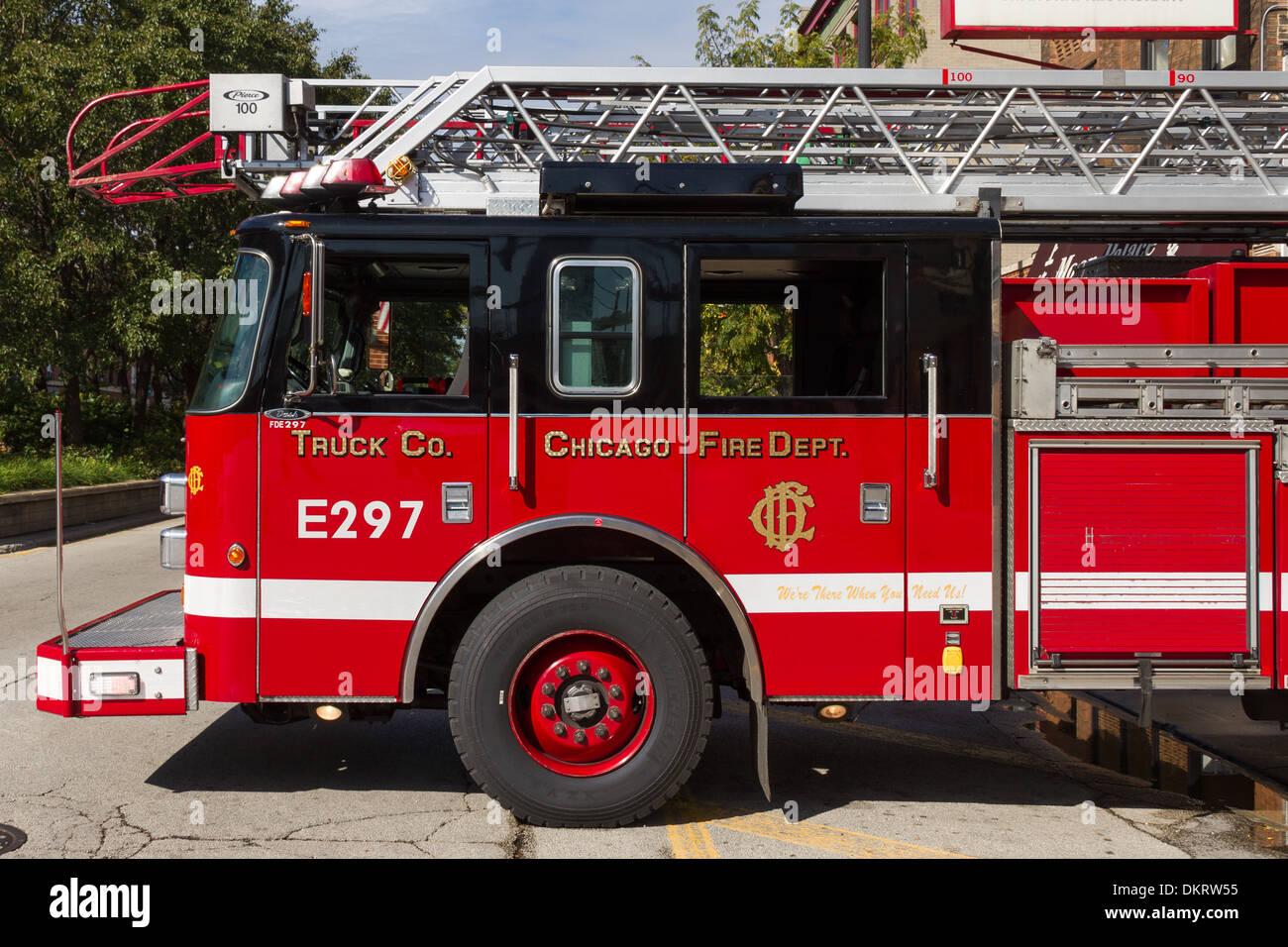 Chicago E297 Fire truck fire dept fire engine - Stock Image