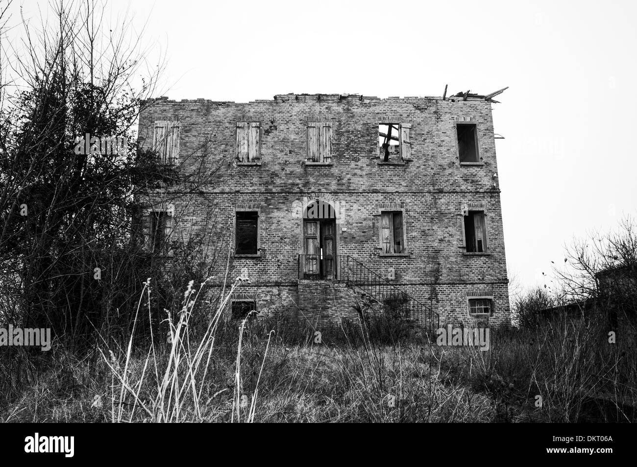 Comacchio Valleys. Italy. Abandoned old building - Stock Image