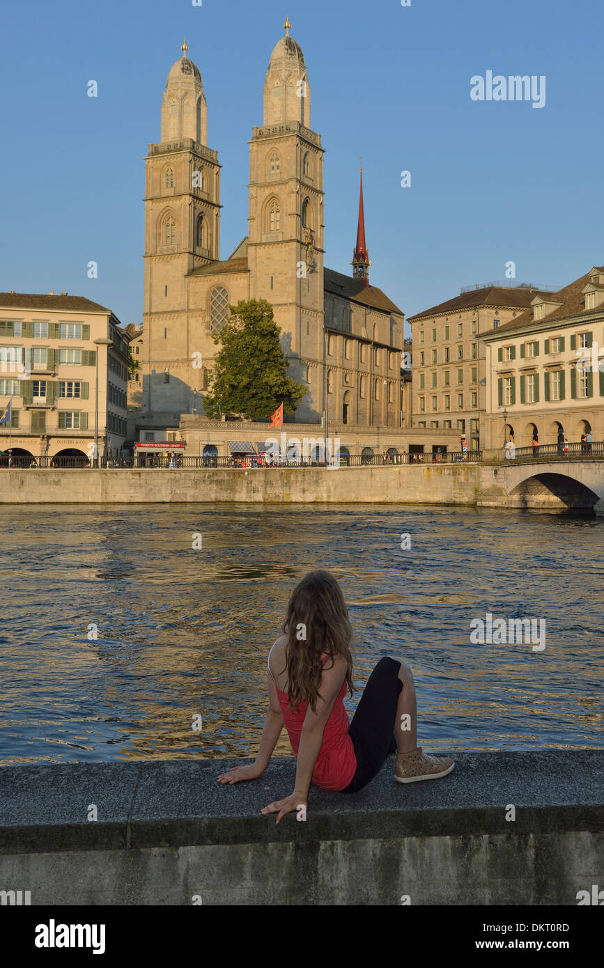 Europe, Switzerland, Grossmünster, Limmat, river, girl, tourist, architecture, model released, vertical, gothic, Stock Photo