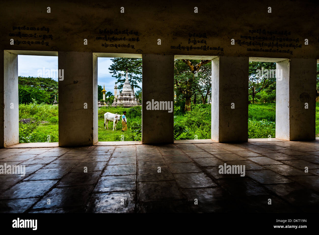 A view out from Shwezigon pagoda in Bagan, Myanar Stock Photo