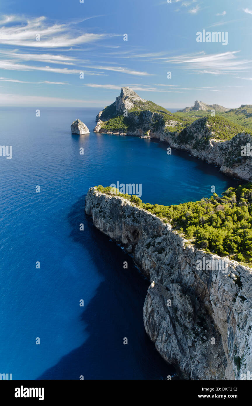 View from the Mirador d es Colomer, Mirador de Mal Pas, Cap de Formentor, Formentor, Mallorca, Balearic Islands, Spain, Europe - Stock Image