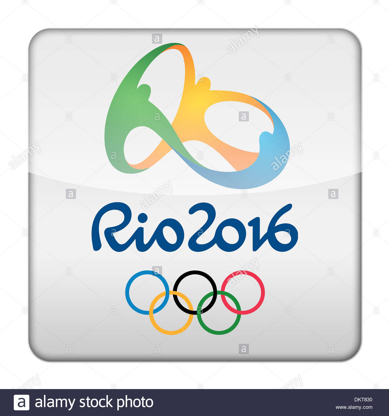 Glossy logo icon app of the Summer Olympic games 2016 in Rio Brazil - Stock Image