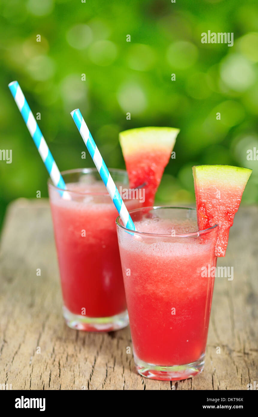 Details of Water melon smoothie - Stock Image