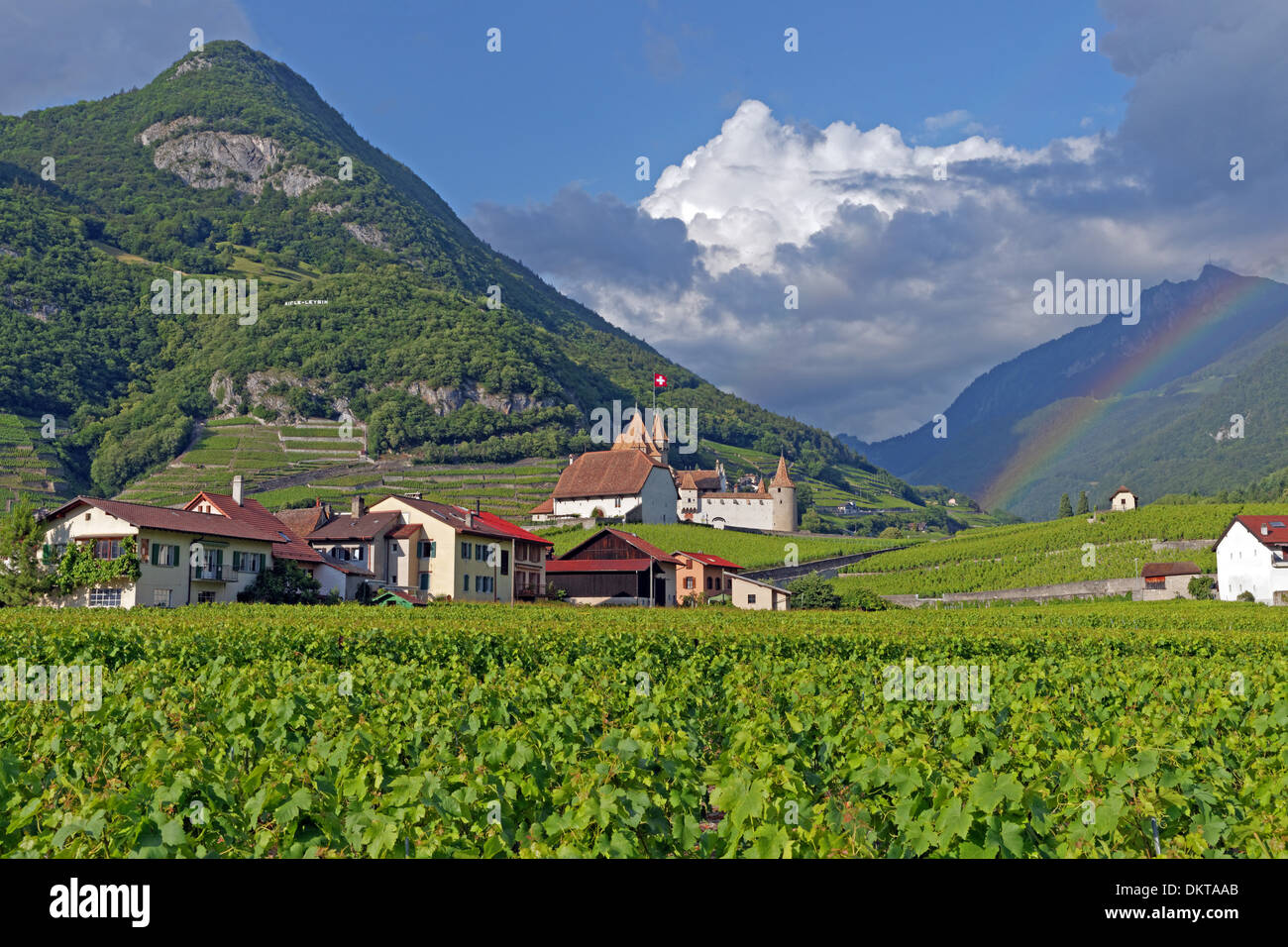 Europe Switzerland CH Vaud Aigle Chemin du Golliez castle Aigle castle place wine vineyards rainbows architecture Stock Photo