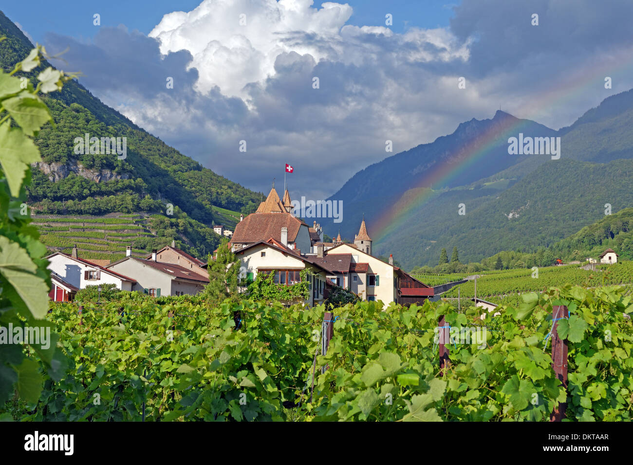 Europe Switzerland CH Vaud Aigle Chemin du Chateau castle Aigle castle place wine vineyards rainbows architecture Stock Photo