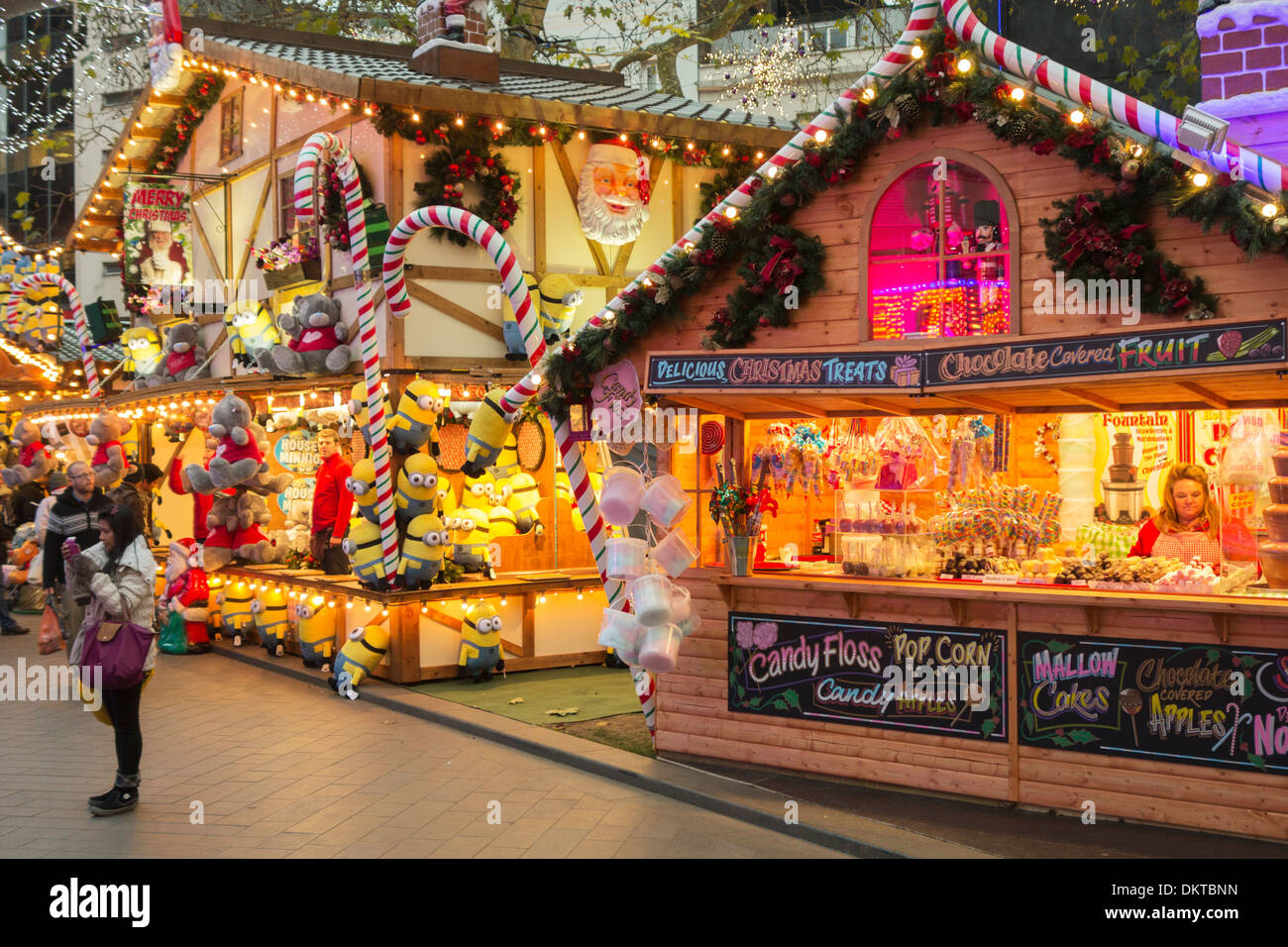 Christmas market stalls in Leicester Square, London, England - Stock Image