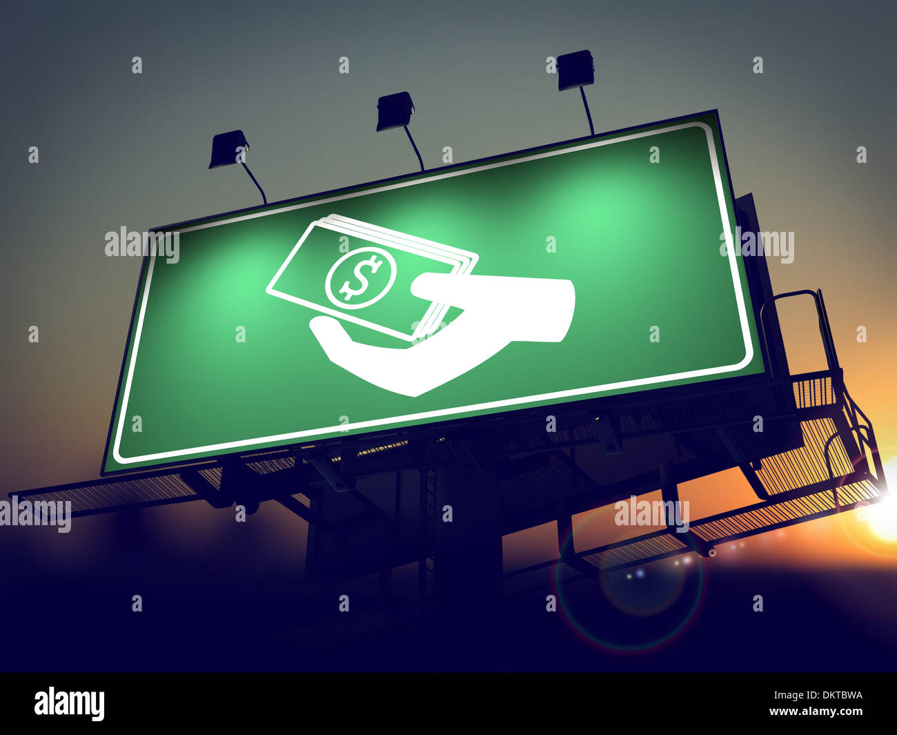 Icon of Money in the Hand on Green Billboard at Sunrise. - Stock Image