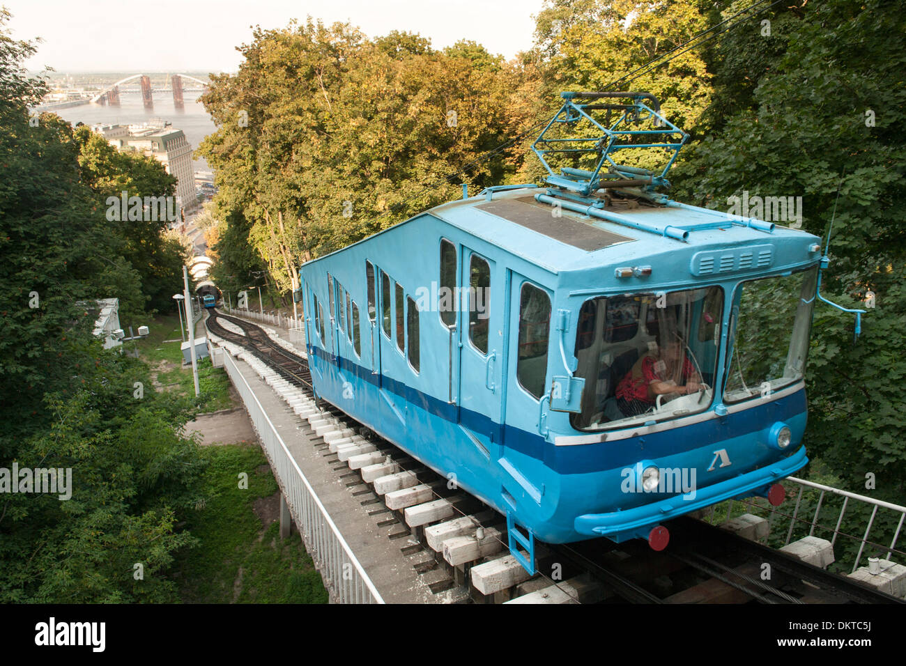 The Kiev funicular connecting the historic Uppertown and the lower commercial neighborhood of Podil in Kiev, capital of Ukraine. - Stock Image