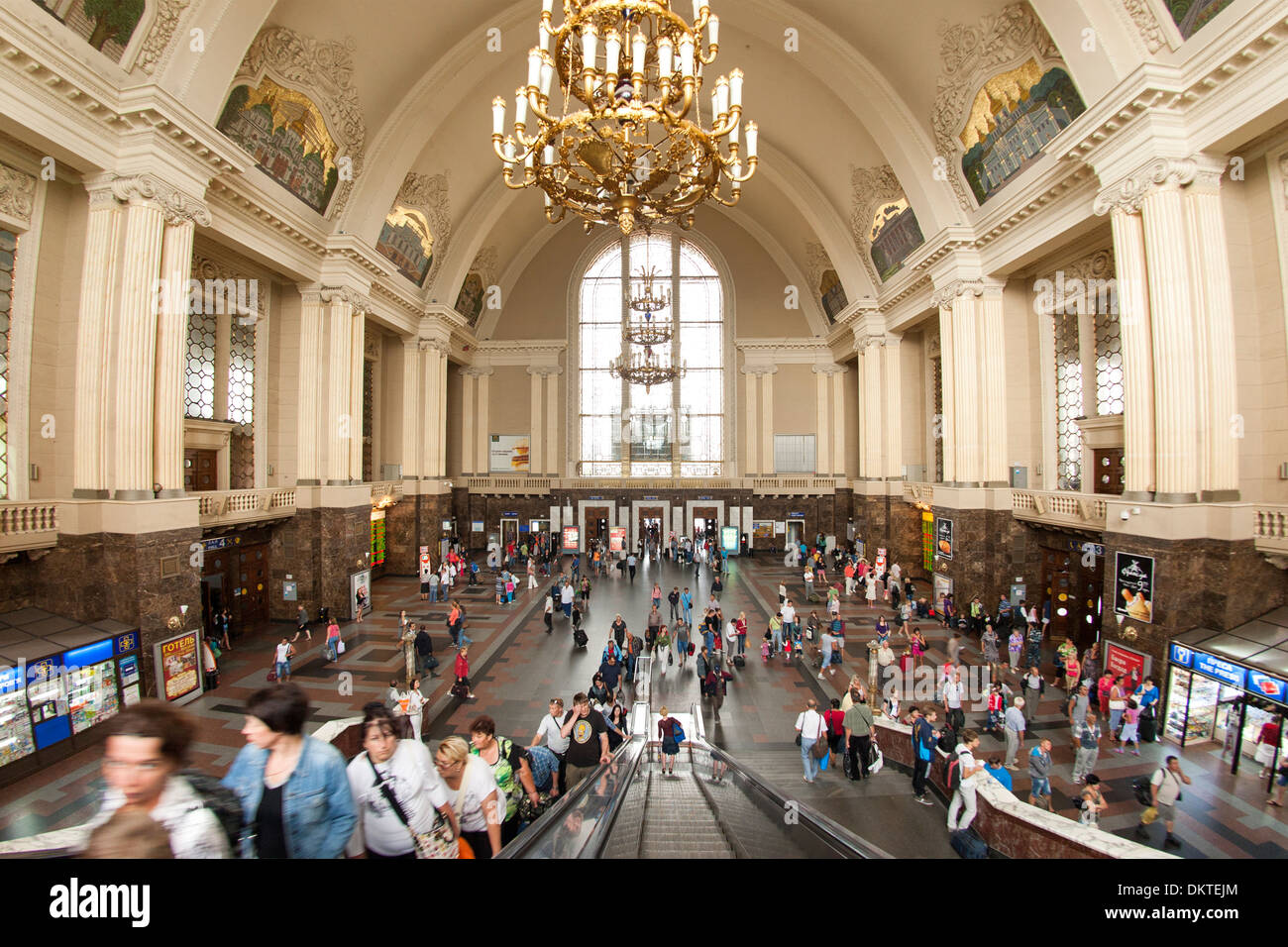 Main hall of the central train station in Kiev, the capital of Ukraine. - Stock Image
