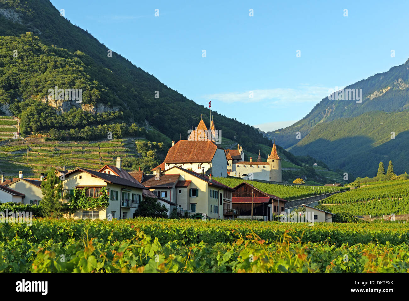 Europe Switzerland CH Vaud Aigle Chemin du Golliez castle Aigle castle place wine vineyards architecture trees castles Stock Photo