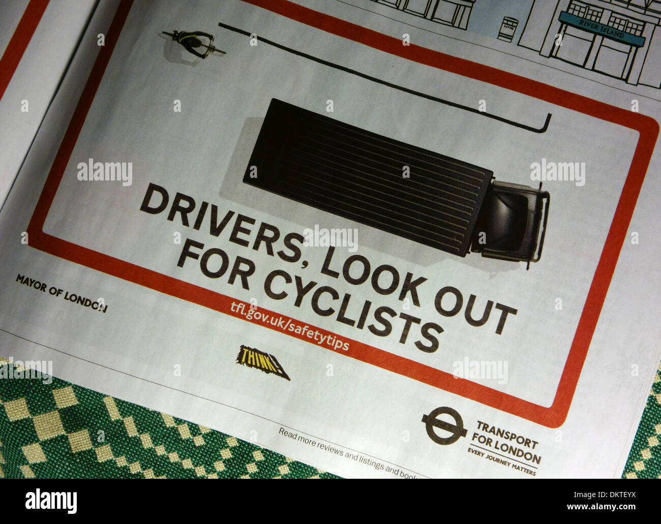 Cycling safety advert in Time Out magazine, London - Stock Image