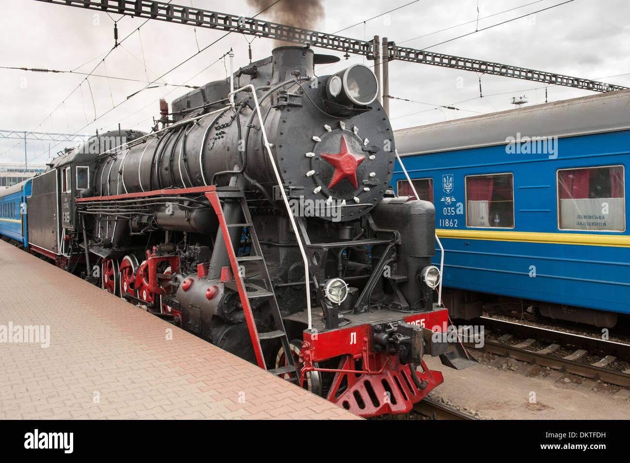 Old steam locomotive in the central station in Kiev, the capital of Ukraine. Stock Photo