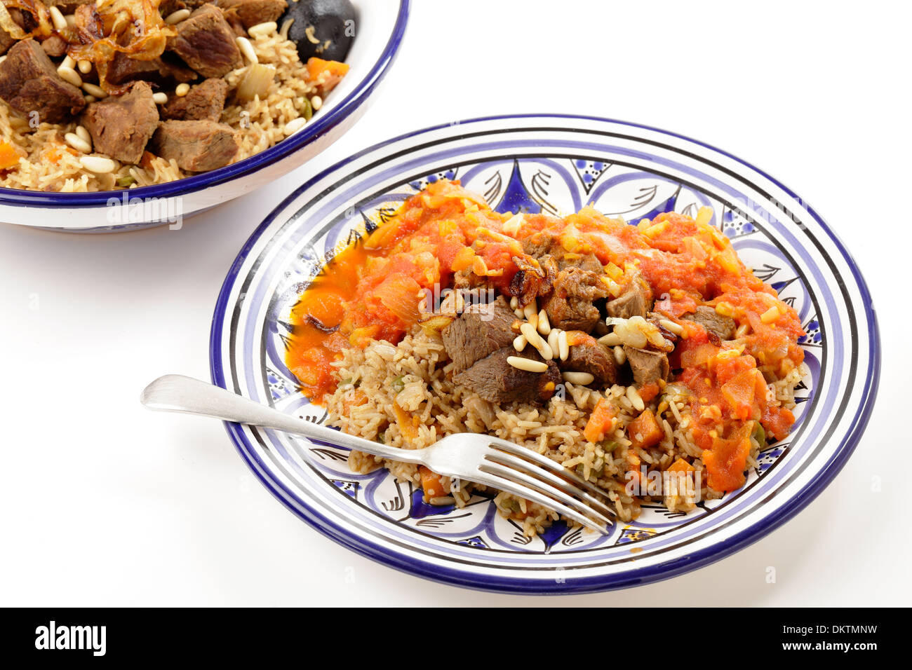 A traditional Saudi Arabian or Gulf Arab meat kabsa meal, - Stock Image