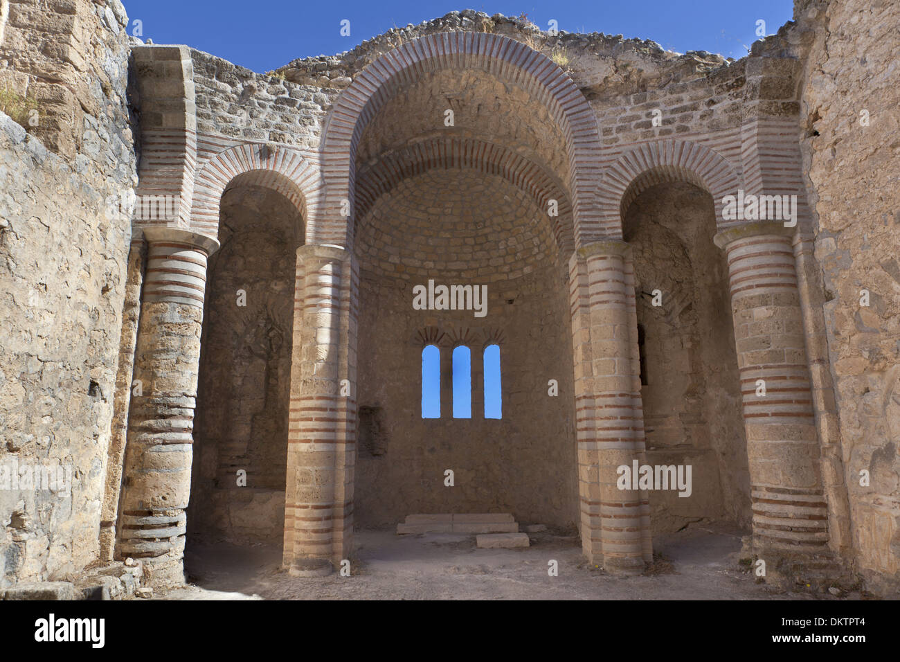 Church at The Saint Hilarion Castle in Cyprus near Kyrenia. - Stock Image