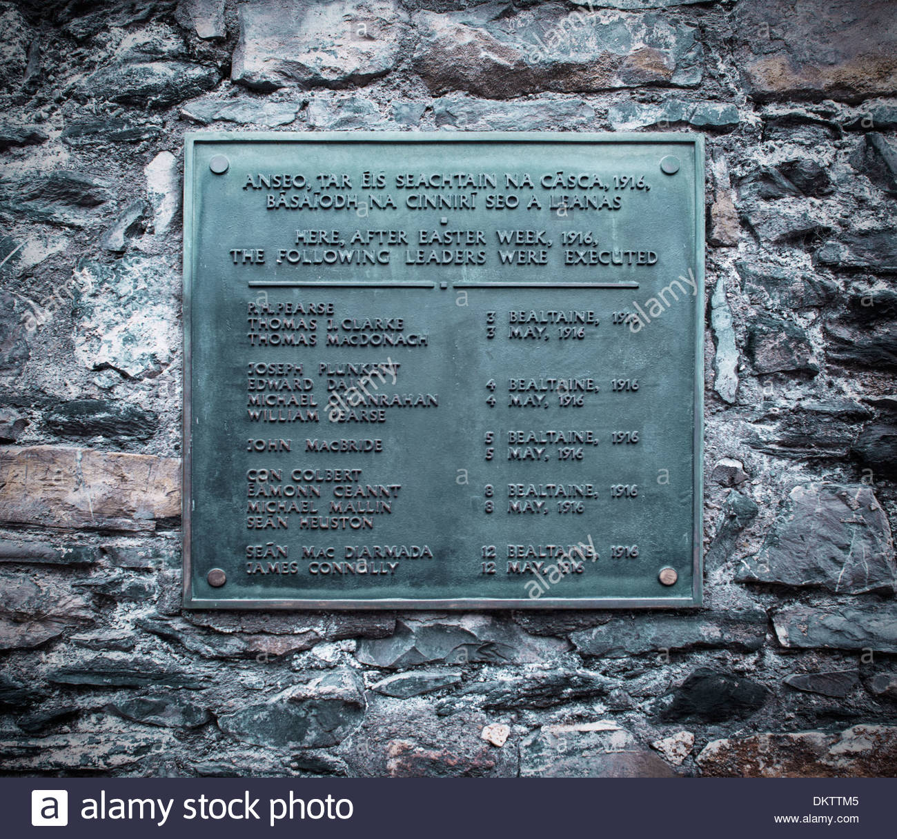 Plaque at Kilmainham Jail, commemorating the execution of leaders of the 1916 Easter Rising, Dublin Ireland Stock Photo