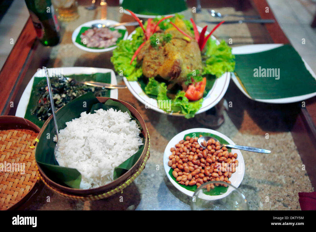 Restaurant in Badini guest house, Pemuteran, Bali, Indonesia - Stock Image