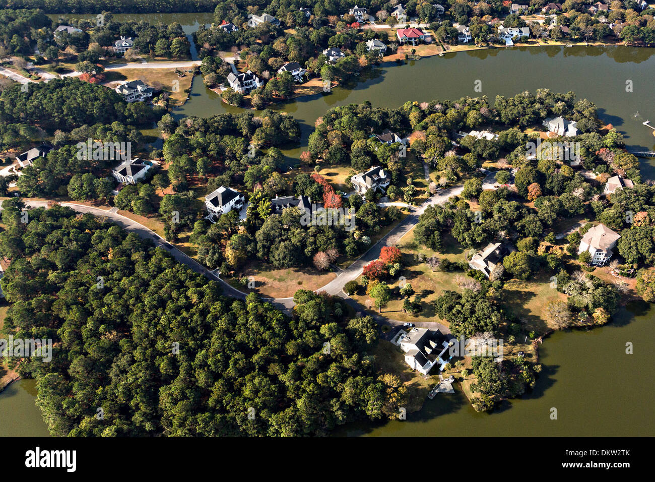 Aerial view of homes in Ravens Run development in Mt Pleasant, SC. - Stock Image