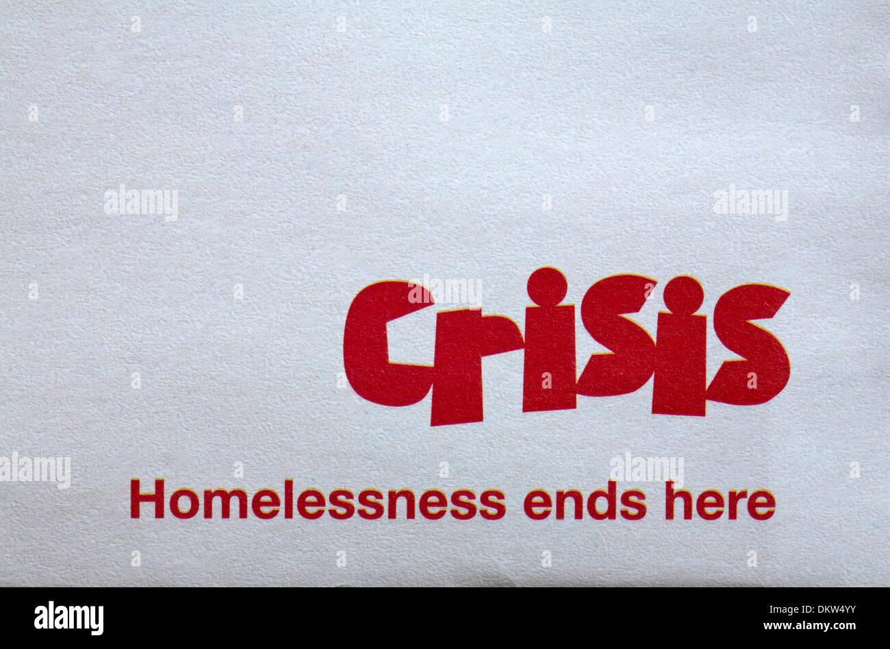Crisis Homelessness ends here logo on envelope - Stock Image