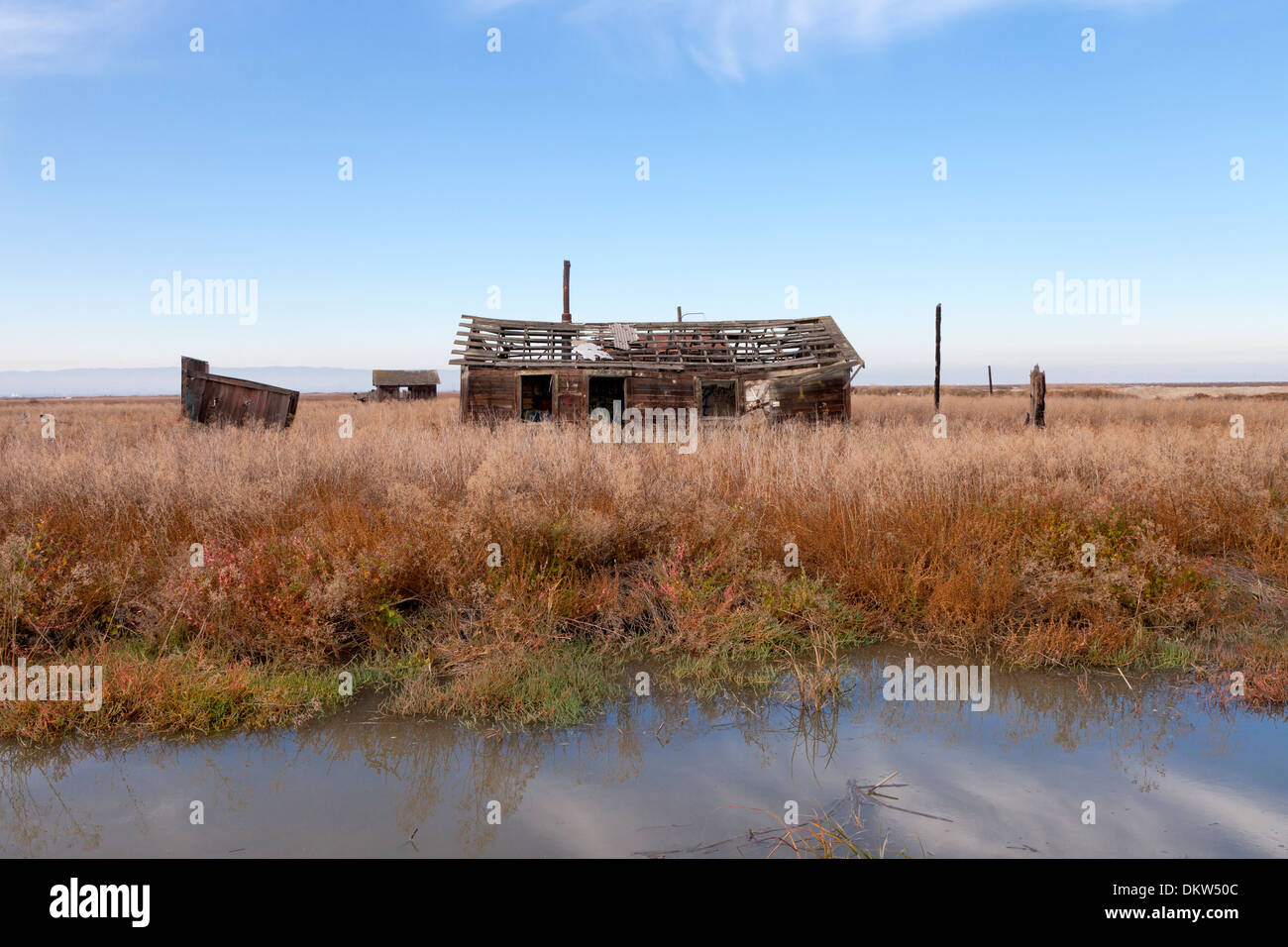 An abandoned shack slowly sinks into the marsh at the ghost town of Drawbridge in southern San Francisco Bay. - Stock Image