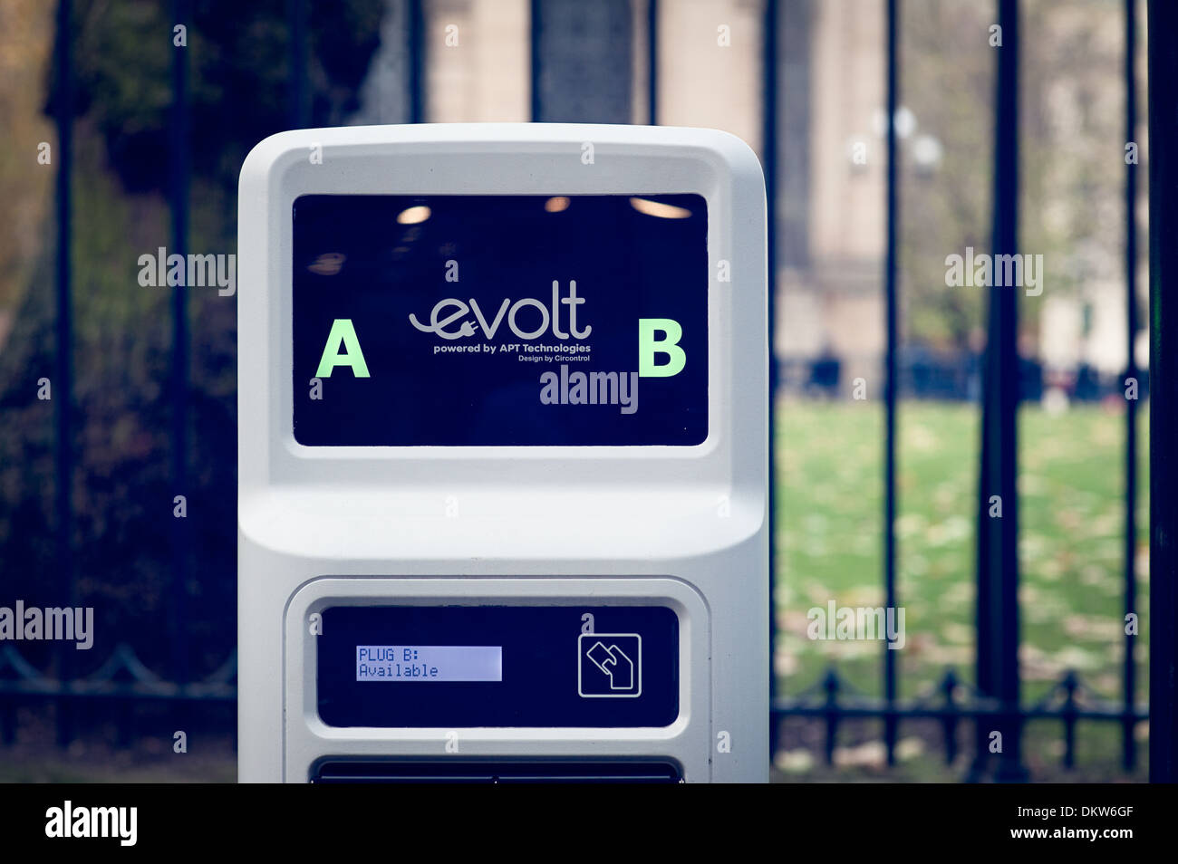 An Evolt electric car recharge point in Birmingham city centre - Stock Image
