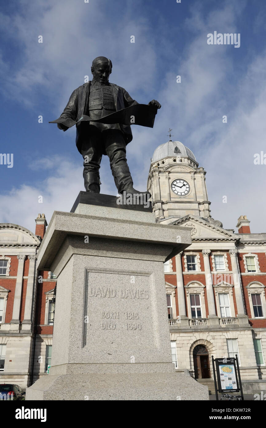 Barry Docks Office With Statue Of David Davies The Founder Of Barry Docks.  Vale Of Glamorgan Council, Wales UK