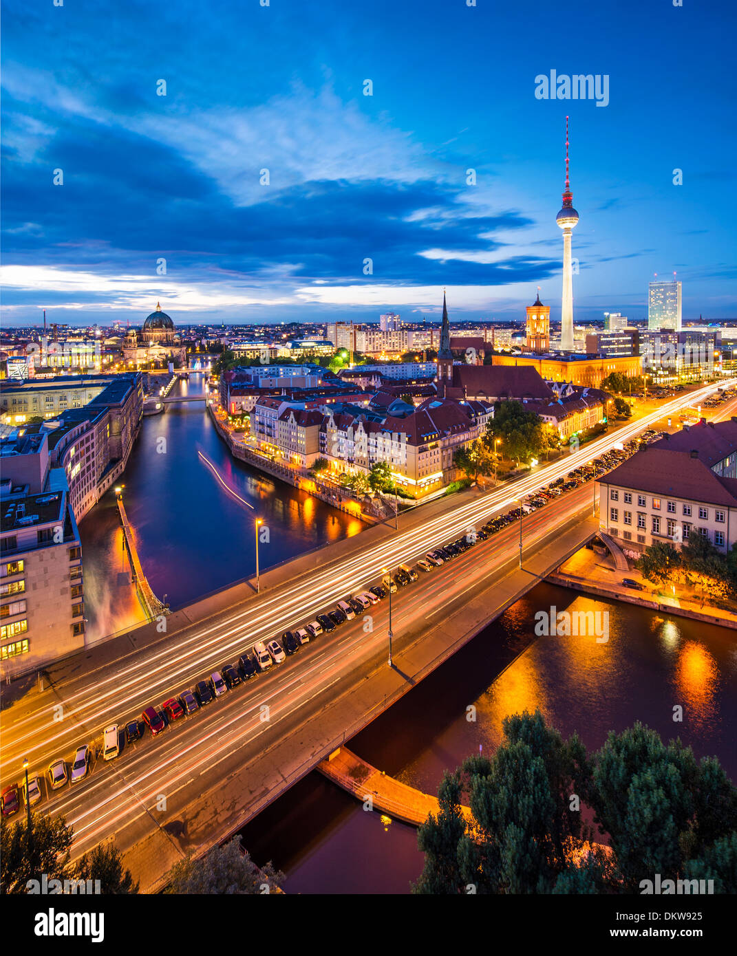 Berlin, Germany cityscape over the Spree. Stock Photo