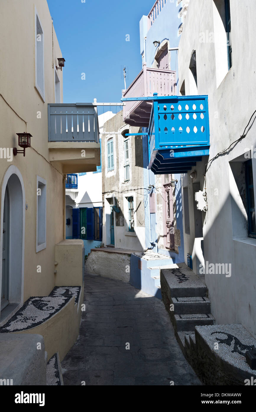 Nisyros Nissyros Dodekanese lane lanes buildings constructions Greece Europe harbour port town house home houses homes island - Stock Image