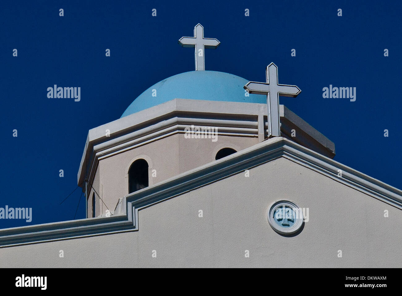 Kos Agia Paraskevi bishop's church Dodekanese building construction faith bell tower belfry Greece Europe port island church - Stock Image