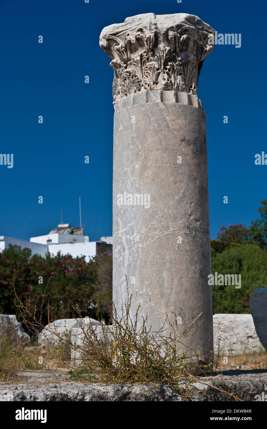 Kos Agora archeology excavation excavation site Greece Europe port island Cannelures Wall Walls Sea Mediterranean Sea - Stock Image