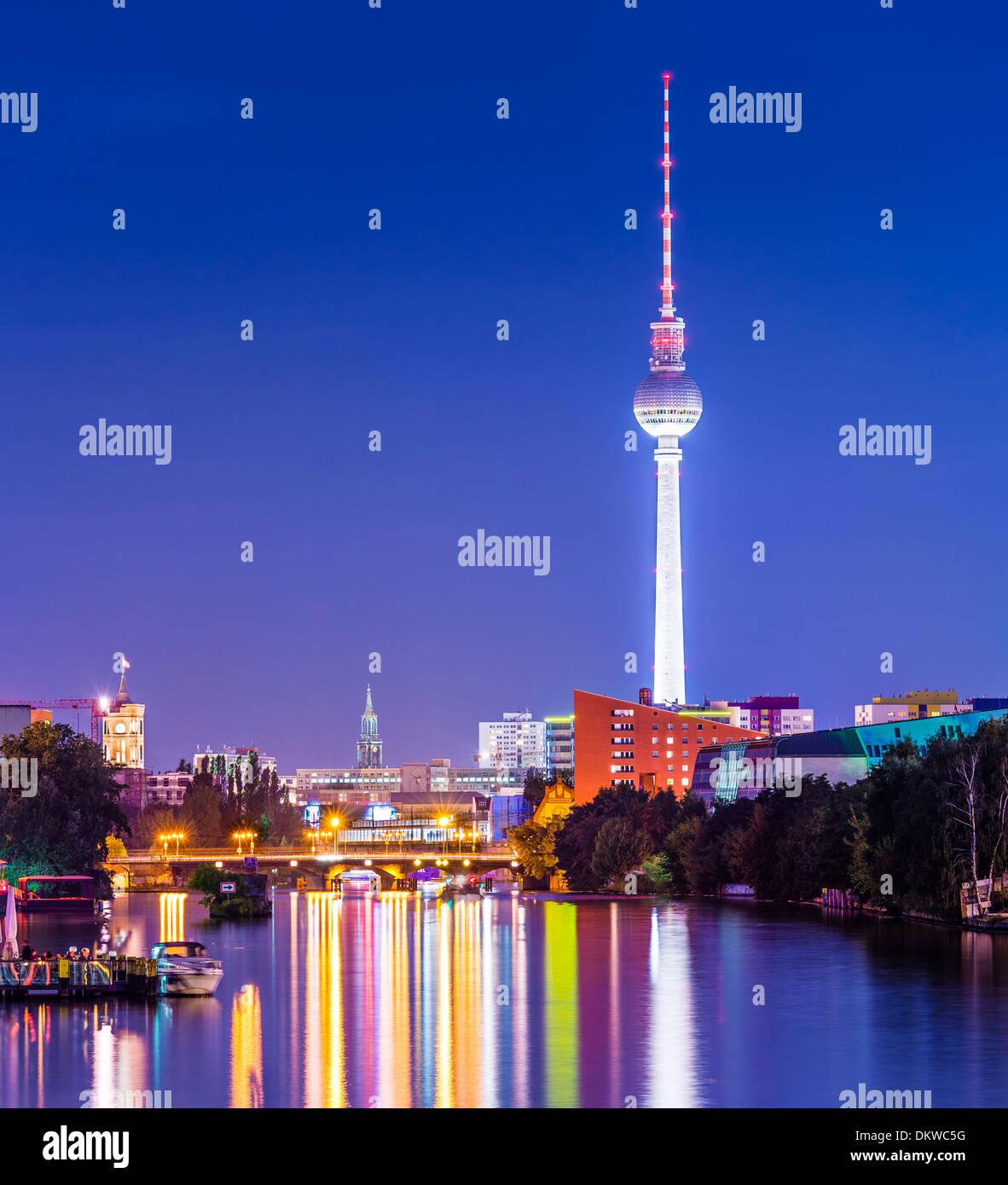 Berlin, Germany cityscape over the Spree. Stock Photo