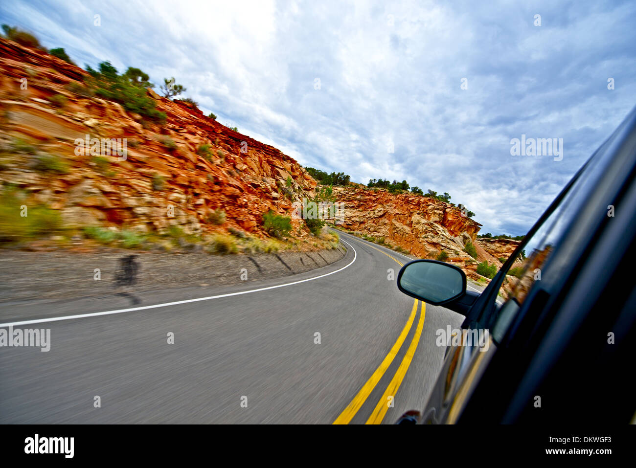 Utah Getaway. Driving Through Scenic Utah Route. Utah Landscape and Highway. Getaway Adventure Theme - Stock Image