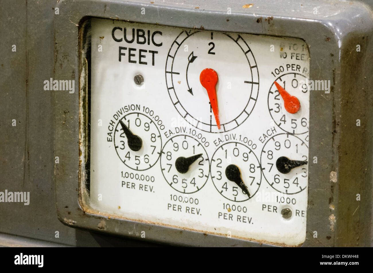 Close-up of dials on an old fashioned gas meter from the 1920s/1930s - Stock Image