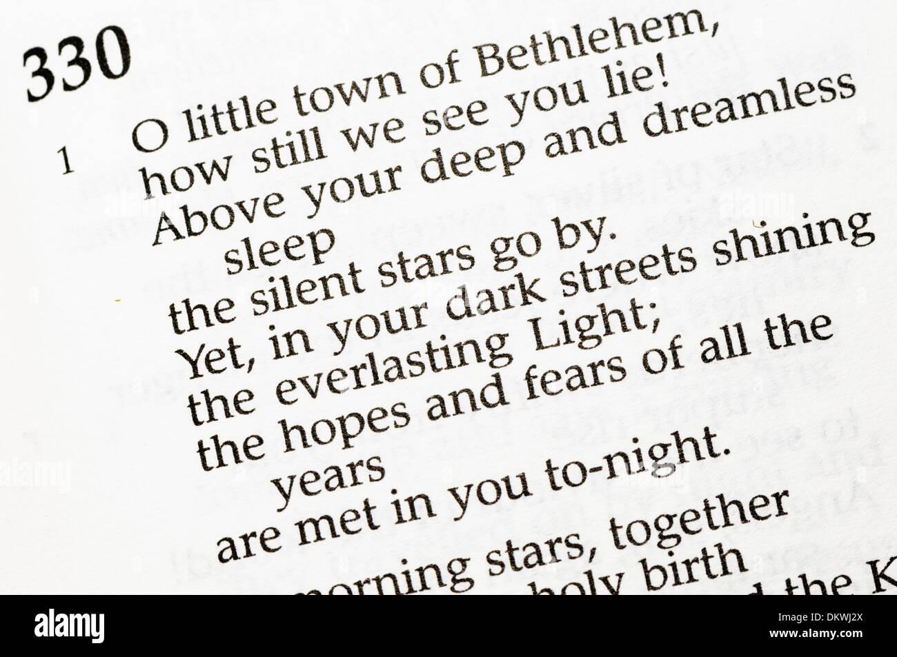 Christmas carol  - 'Oh Little Town of Bethlehem' - Stock Image